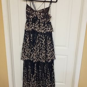 BCBG Floral Embroidered Gown